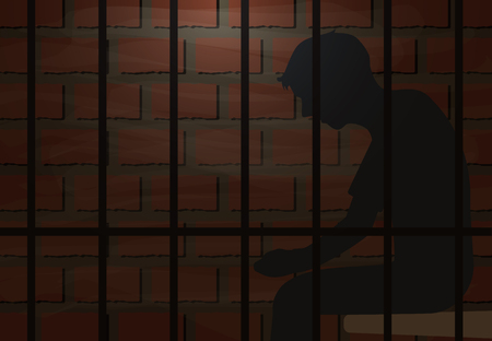 Inmate sitting in jail vector illustration background Illustration