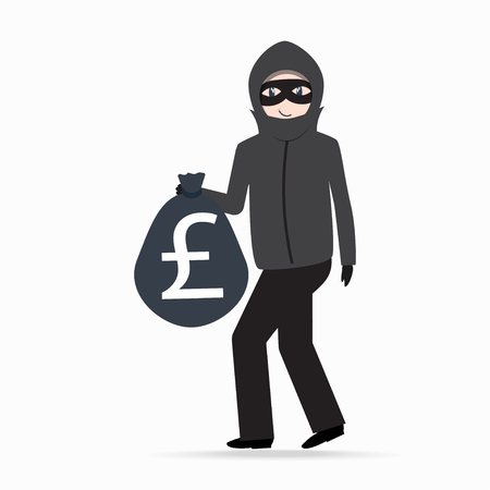 Man holding money bag with pound sign. Beware pickpocket sign. thief icon