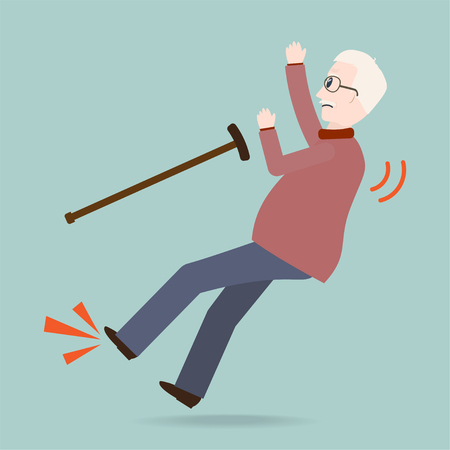 Elderly man with stick and slip injury, person injury icon Illustration