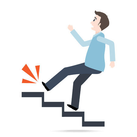Man walking on stairs and injury, person injury sign illustration