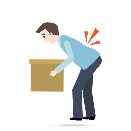 Uomo che trasporta scatola e ferito al mal di schiena. icona di lesioni della persona Archivio Fotografico - 94236859