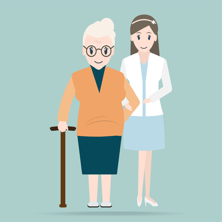 Young woman helps elderly patient icon, medical care concept