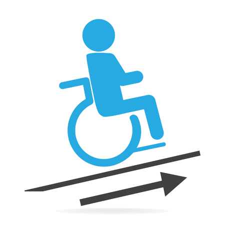 Wheelchair slope way sign for up and down correctly icon