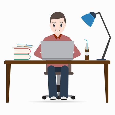 Man working on a computer, student sitting front of laptop icon illustration Illustration