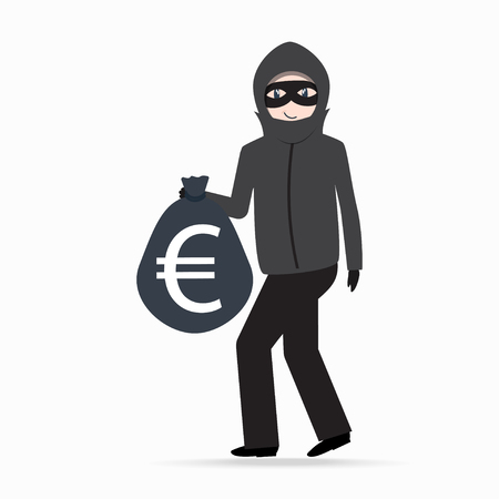 Man holding money bag with euro currency sign. Beware pickpocket sign. thief icon Illustration