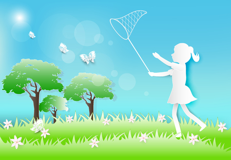 Girl running and catching butterflies with net paper art, paper craft style illustration background