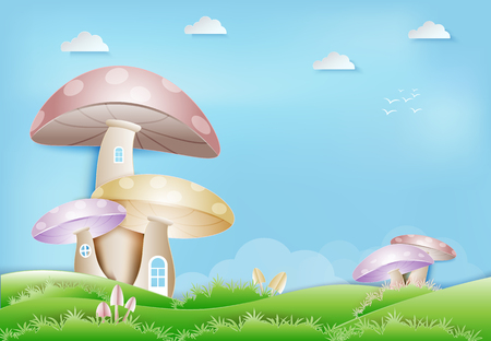 Paper art of mushroom house at meadow background paper cut, paper craft style