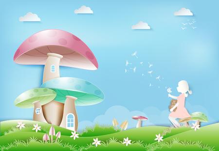 Little girl sitting with teddy bear on mushroom with Dandelion flower floating paper art, paper craft style illustration