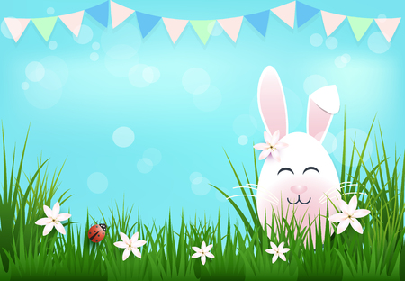 Egg with bunny ears with flag and ladybug Easter day background 矢量图像