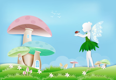 Illustration of Fairy with ladybug in garden and mushroom house paper art, paper cut style background