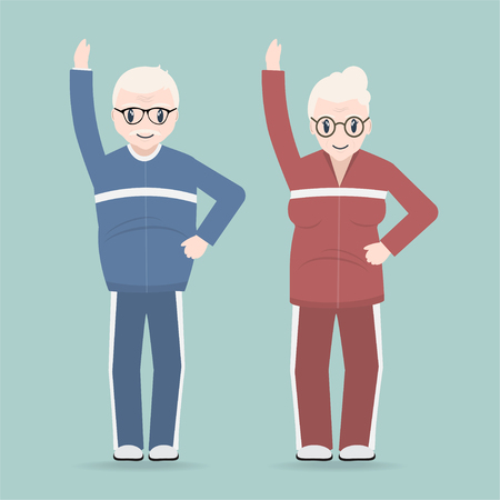 Elderly couple exercise icon, Health care for elderly concept Vectores
