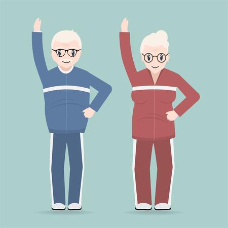 Elderly couple exercise icon, Health care for elderly concept Illustration