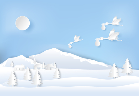 Paper art of stork flying with baby on sky in the village countryside, paper cut style illustration