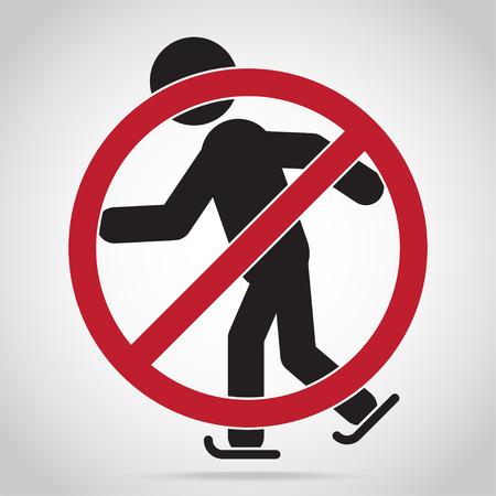 Skating warning sign icon Vector illustration.