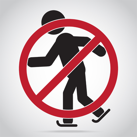Skating warning sign icon Vector illustration.