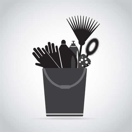 Bucket illustration with gloves, rake and bottles