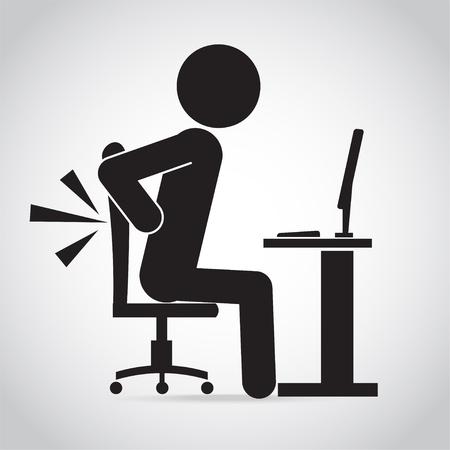 Person profile image back pain icon illustration Illustration