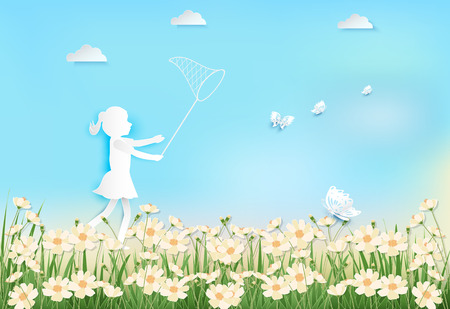 Girl happiness with catching butterflies in cosmos flowers field on blue sky background paper art, paper craft style illustration Illustration