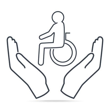 Disabled in hands icon, Man patient in hands simple line icon illustration. Protect and care people concept