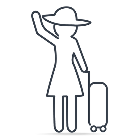 Woman pulling a Luggage in vacation, simple line icon illustration Vectores