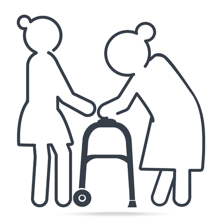 Woman helps elderly woman patient with a walker, simple line icon illustration
