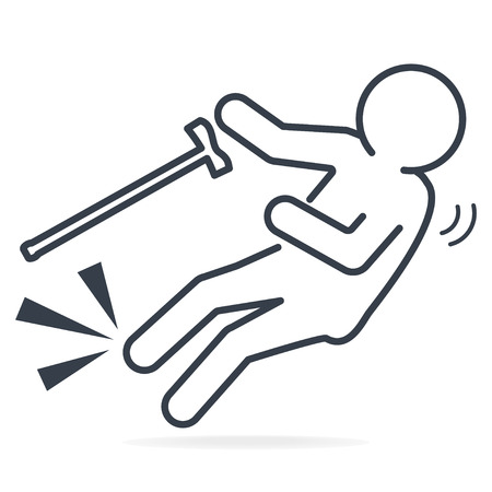 Elderly with stick and slip injury icon lines style. People injury symbol, Medical concept illustration