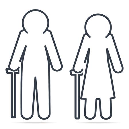 Elderly symbol. old people icon, simple line icon vector illustration