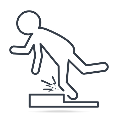 Man tripping over on floor icon, people injury symbol simple line icon illustration