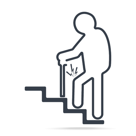Elderly Man with stick and injury of the knee icon lines style. People injury sign, Medical concept illustration