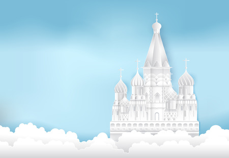 St. Basils Cathedral, Moscow in Russia Paper cut, Paper art illustration background