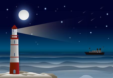 Faro con transatlantico nell'oceano e nel cielo notturno. Priorità bassa dell'illustrazione del mestiere di carta.
