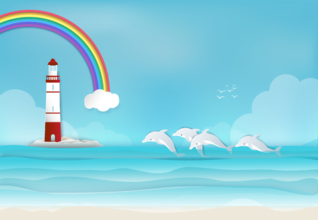 Lighthouse with Dolphin in the sea and rainbow background paper art,paper craft style illustration