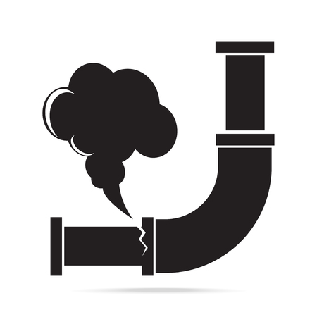 Gas leak pipe icon. Pollution Gas Pipe icon sign vector illustration Иллюстрация