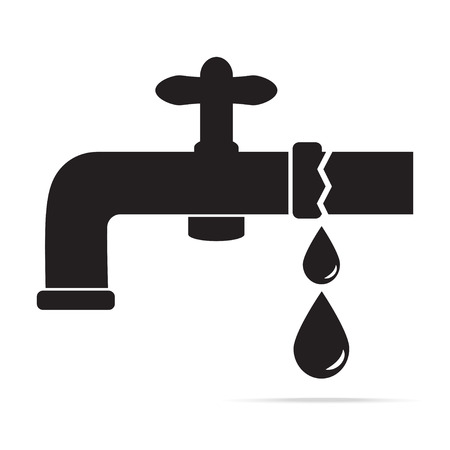 Water leak from Faucet icon vector illustration