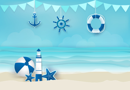 Summer holiday blue background, nautical concept. Paper art, paper craft style illustration Stock Illustratie