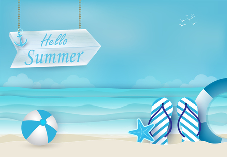 Summer holiday blue background, nautical concept. Paper art, paper craft style illustration Ilustração