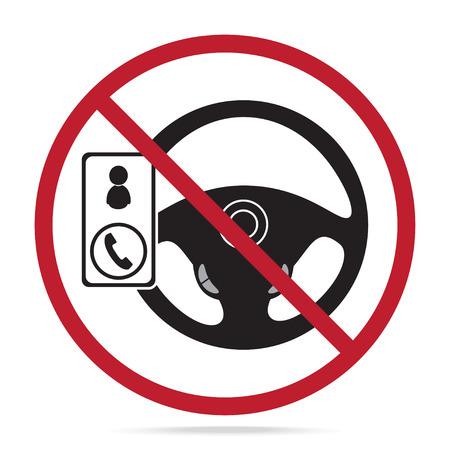 No cell phone use while driving icon illustration. Restriction sign