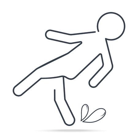Wet floor warning sign icon. Simple line illustration 일러스트