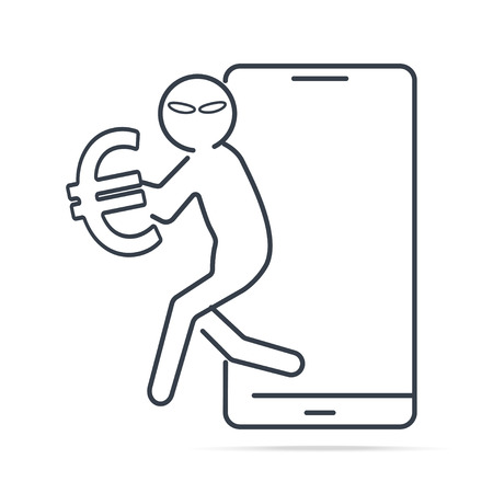 Hacker or Thief stealing money from smartphone and Euro sign icon. Internet security concept. simple line illustration.