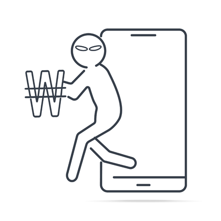 Hacker or Thief stealing money from smartphone and Won KRW sign icon. Internet security concept. simple line illustration.