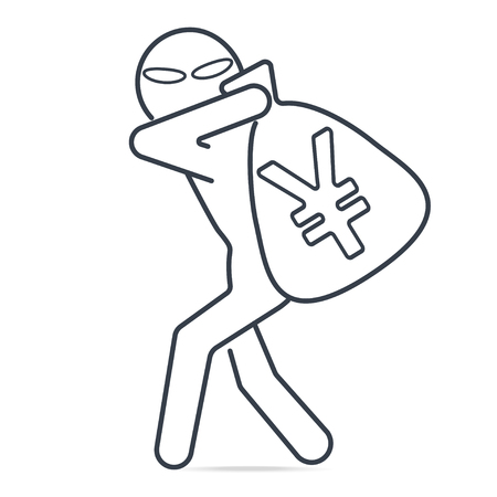 Thief stealing money and Yen or Yuan CNY sign icon. Simple line illustration. Stock Illustratie