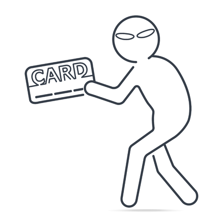 Thief stealing money or card icon. Simple line illustration.