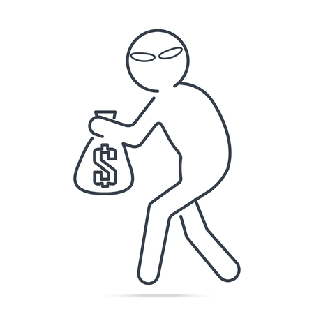 Beware pickpocket sign, Thief stealing money icon Simple line illustration