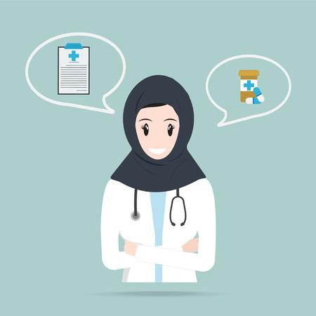 Médico musulmán o farmacéutico e icono de píldoras, concepto de medicina