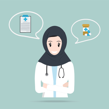 Muslim Doctor or Pharmacist and pills icon, medicine concept