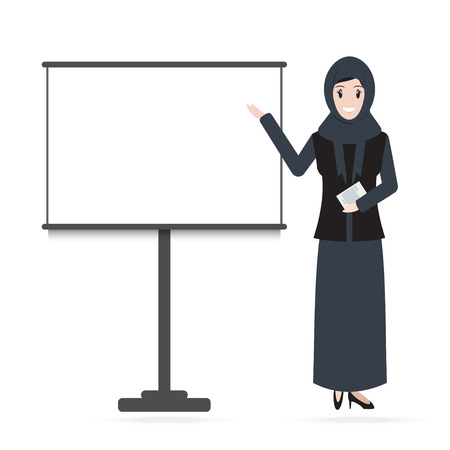 Muslim Woman standing and presentation icon. Meeting Business icon Illustration