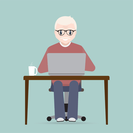 Elderly man sitting front of computer on work table icon