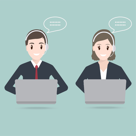 Man and Woman with headphone customer service icon Illustration