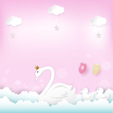 Family' s Princess Swan with balloons floating and cloud Happy Birthday, Congratulations card, or Shower card paper art, paper craft style illustration pink background Stock fotó - 114965862