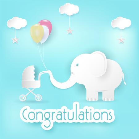 Elefante y globos con tarjeta de felicitaciones de cochecito de bebé, feliz cumpleaños o tarjeta de ducha papel estilo arte ilustración fondo azul